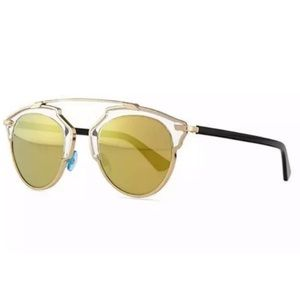 Dior So Real Sunglass U5S Gold Crystal Black Blue